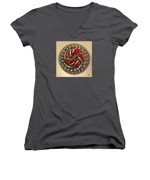 Women's V-Neck T-Shirt (Junior Cut) featuring the digital art Spawn by Manny Lorenzo