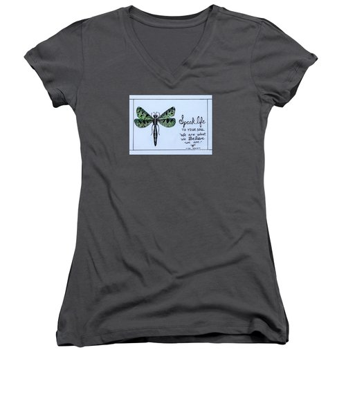 Women's V-Neck T-Shirt (Junior Cut) featuring the painting Speak Life To Your Soul by Elizabeth Robinette Tyndall