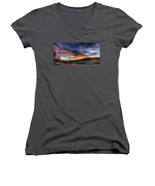 Women's V-Neck featuring the photograph Spearfish Canyon Golf Club Sunrise by Fiskr Larsen