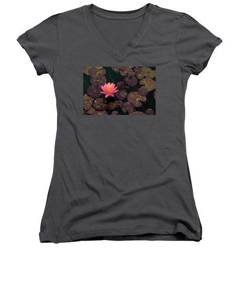 Speckled Red Lily And Pads Women's V-Neck