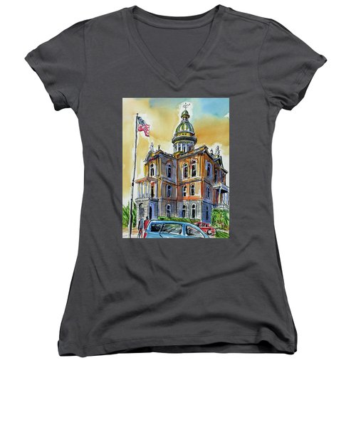 Women's V-Neck T-Shirt (Junior Cut) featuring the painting Spectacular Courthouse by Terry Banderas