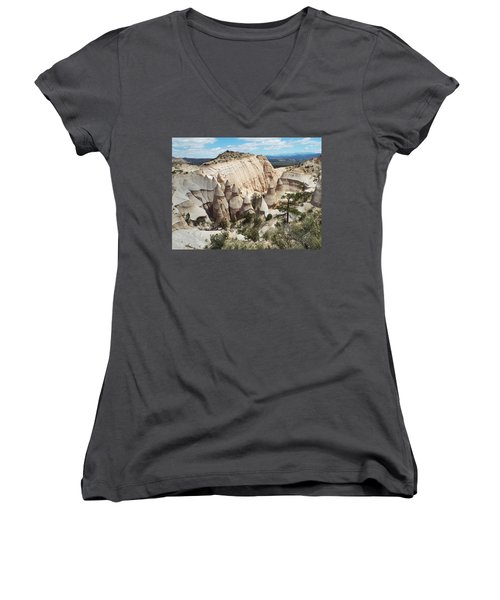 Spectacular Slot Canyon Trail View-at-the-top Women's V-Neck T-Shirt (Junior Cut) by Cindy Croal