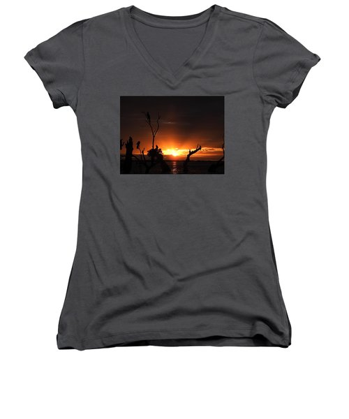 Spectacular Sunset Women's V-Neck T-Shirt (Junior Cut) by Betty-Anne McDonald
