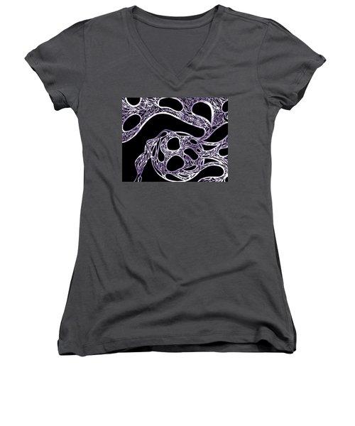 Women's V-Neck T-Shirt (Junior Cut) featuring the drawing Sphere Night Light by Jamie Lynn