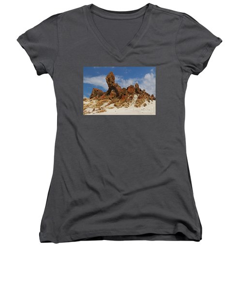 Women's V-Neck T-Shirt (Junior Cut) featuring the photograph Sphinx Of South Australia by Stephen Mitchell