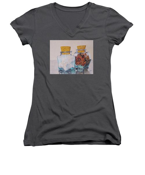 Women's V-Neck T-Shirt (Junior Cut) featuring the painting Spice Jars by Hilda and Jose Garrancho