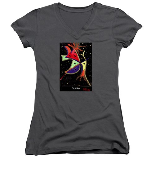 Spider Women's V-Neck T-Shirt (Junior Cut) by Clarity Artists