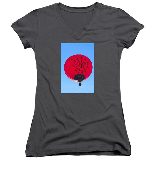 Women's V-Neck T-Shirt (Junior Cut) featuring the photograph Spiderballoon by Brenda Pressnall