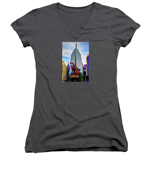 Women's V-Neck T-Shirt (Junior Cut) featuring the photograph Spiderman by Tom Prendergast
