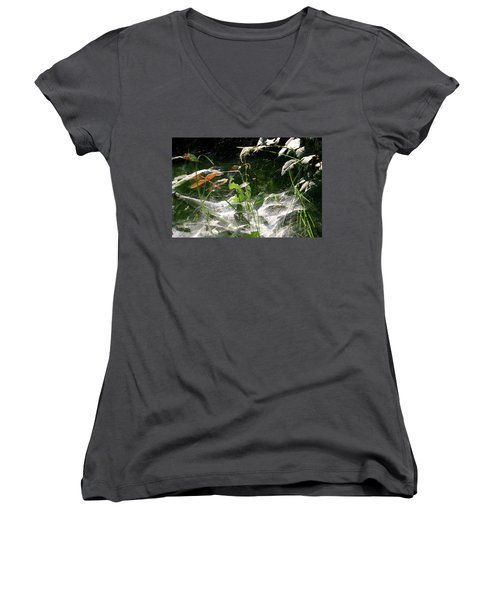 Spiderweb Over Rose Plants Women's V-Neck