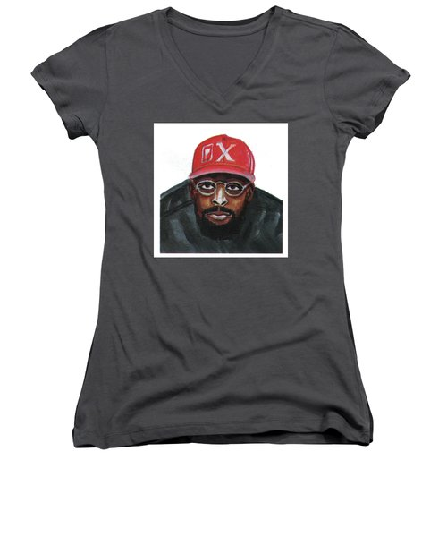Spike Lee Women's V-Neck T-Shirt (Junior Cut) by Emmanuel Baliyanga