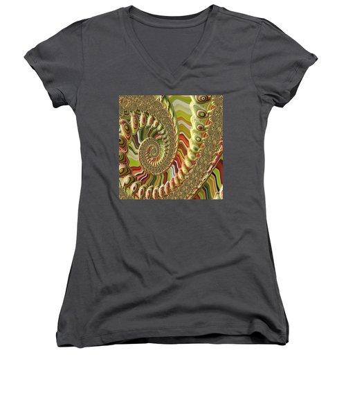Women's V-Neck T-Shirt (Junior Cut) featuring the photograph Spiral Fractal by Bonnie Bruno