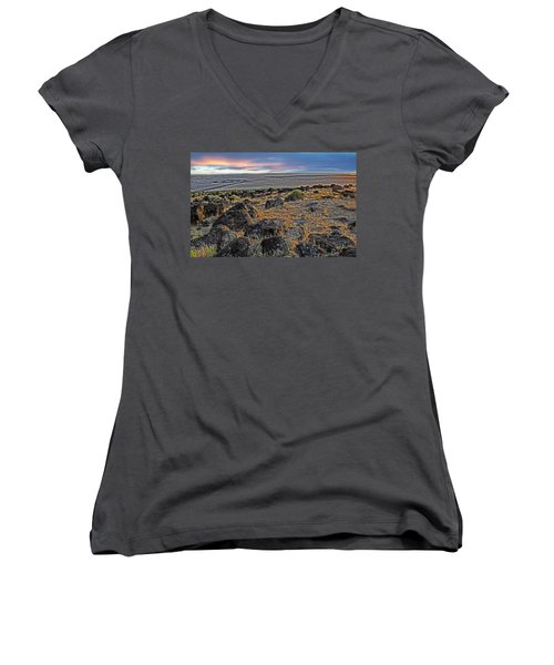 Women's V-Neck featuring the photograph Spiral Jetty by Scott Read