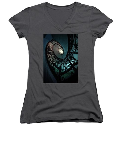 Women's V-Neck T-Shirt (Junior Cut) featuring the photograph Spiral Ornamented Staircase In Blue And Green Tones by Jaroslaw Blaminsky