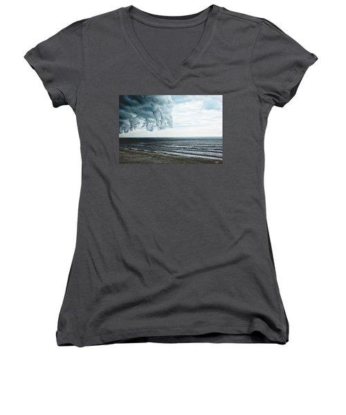 Spiraling Storm Clouds Over Daytona Beach, Florida Women's V-Neck T-Shirt