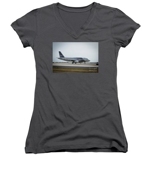 Women's V-Neck T-Shirt (Junior Cut) featuring the photograph Spirit Airlines A319 Airbus N523nk Airplane Art by Reid Callaway
