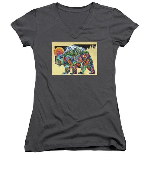 Spirit Bear Totem Women's V-Neck (Athletic Fit)