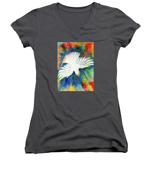 Spirit Fire Women's V-Neck T-Shirt (Junior Cut) by Nancy Cupp
