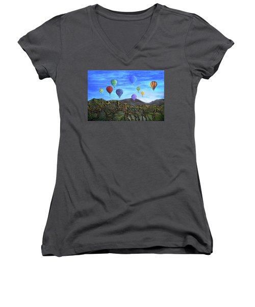 Women's V-Neck T-Shirt (Junior Cut) featuring the mixed media Spirit Of Boise by Angela Stout