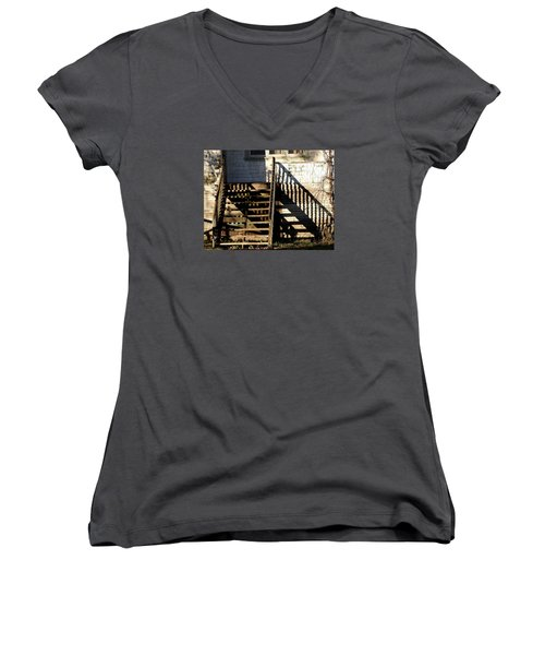 Spirit Stairs Women's V-Neck T-Shirt (Junior Cut) by Brian Chase