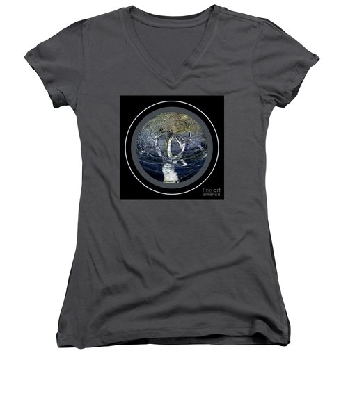 Spirit Tree Women's V-Neck T-Shirt (Junior Cut) by Jodie Marie Anne Richardson Traugott          aka jm-ART