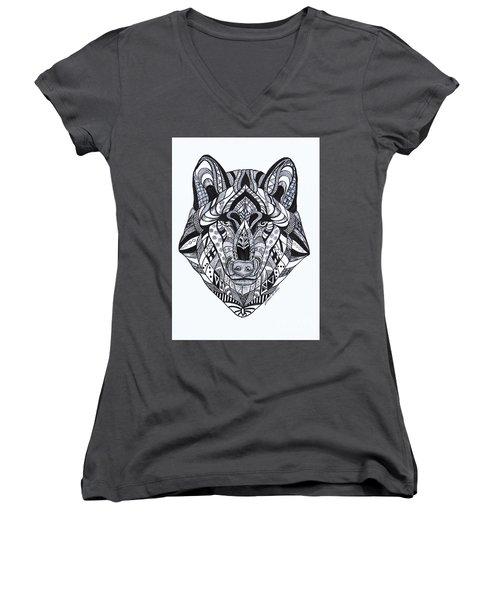 Spirit Wolf Women's V-Neck (Athletic Fit)