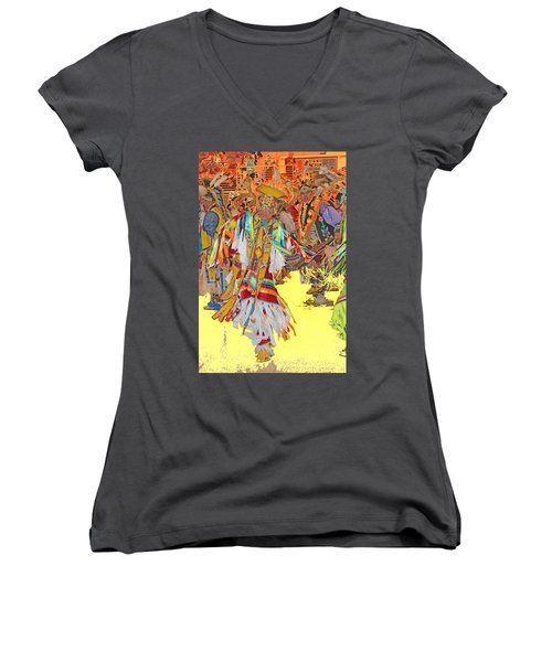 Spirited Moves Women's V-Neck T-Shirt (Junior Cut) by Audrey Robillard