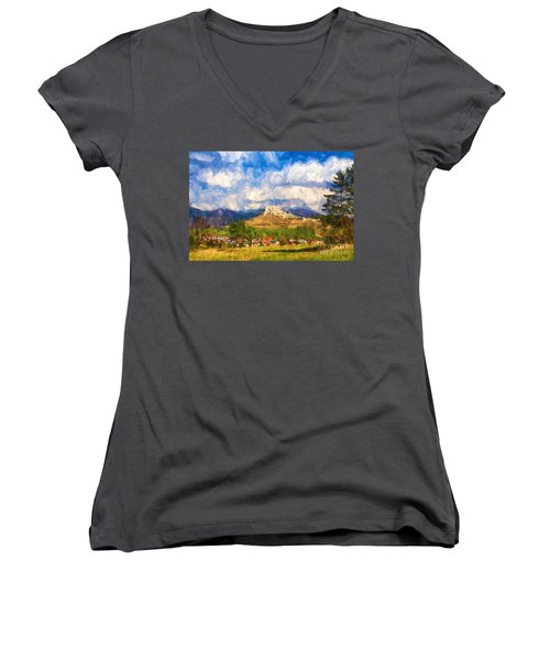 Castle Above The Village Women's V-Neck T-Shirt (Junior Cut) by Les Palenik
