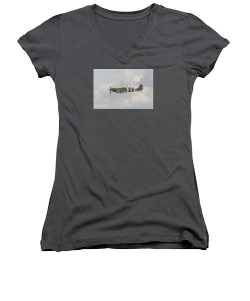 Spitfire Mk Vb Women's V-Neck T-Shirt (Junior Cut) by Gary Eason
