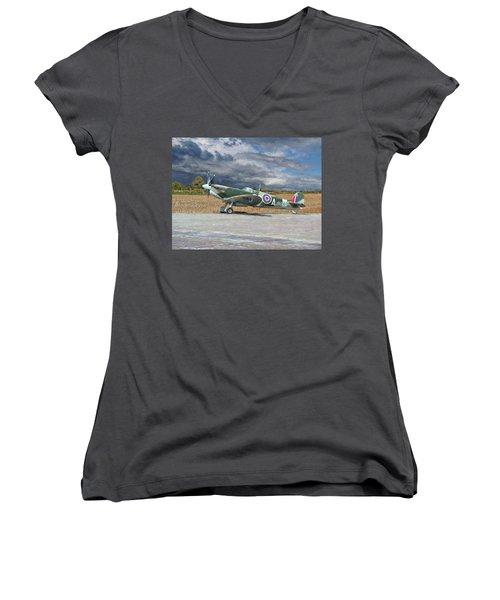 Women's V-Neck T-Shirt (Junior Cut) featuring the photograph Spitfire Under Storm Clouds by Paul Gulliver
