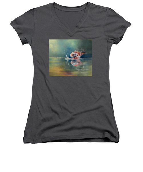 Women's V-Neck T-Shirt (Junior Cut) featuring the painting Splash by Ceci Watson