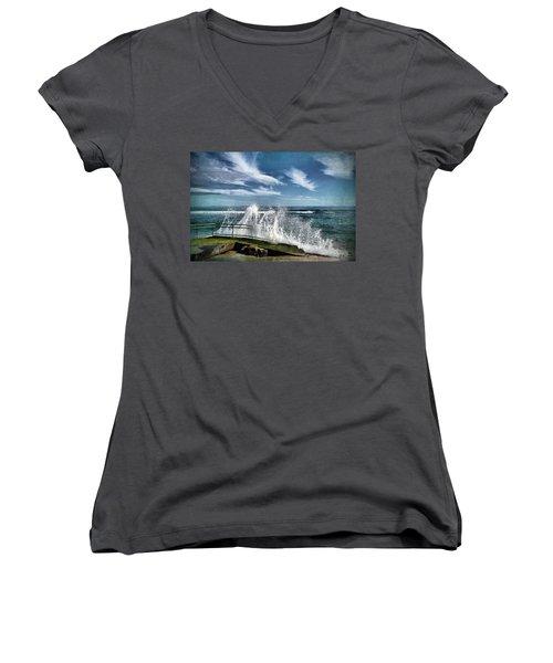 Splash Happy Women's V-Neck T-Shirt (Junior Cut) by Kym Clarke
