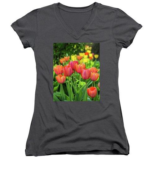 Women's V-Neck T-Shirt (Junior Cut) featuring the photograph Splash Of April Color by Bill Pevlor