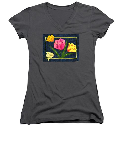 Splash Of Tulips Women's V-Neck T-Shirt (Junior Cut) by Jo Baner