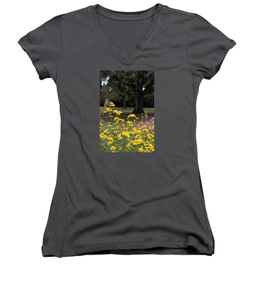 Splashes Of Yellow Women's V-Neck T-Shirt (Junior Cut) by Suzanne Gaff