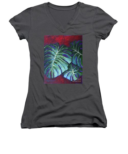 Split Leaf Philodendron Women's V-Neck