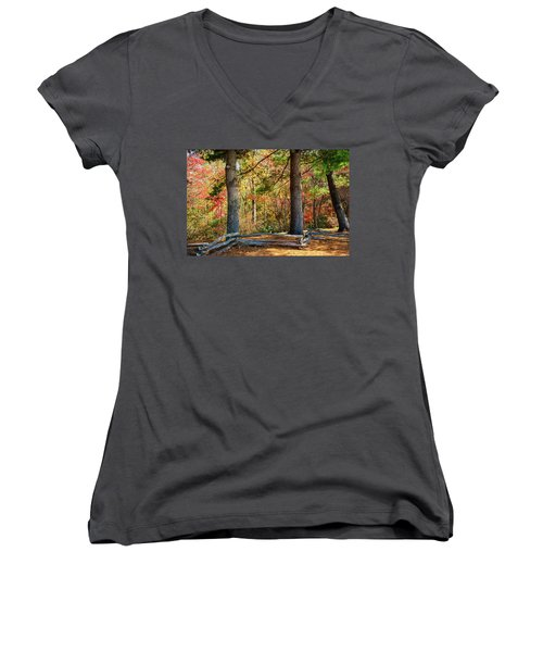 Split Rail Fence And Autumn Leaves Women's V-Neck (Athletic Fit)