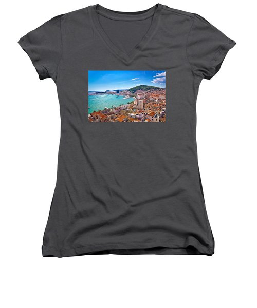 Split Waterfront And Marjan Hill View Women's V-Neck T-Shirt (Junior Cut) by Brch Photography