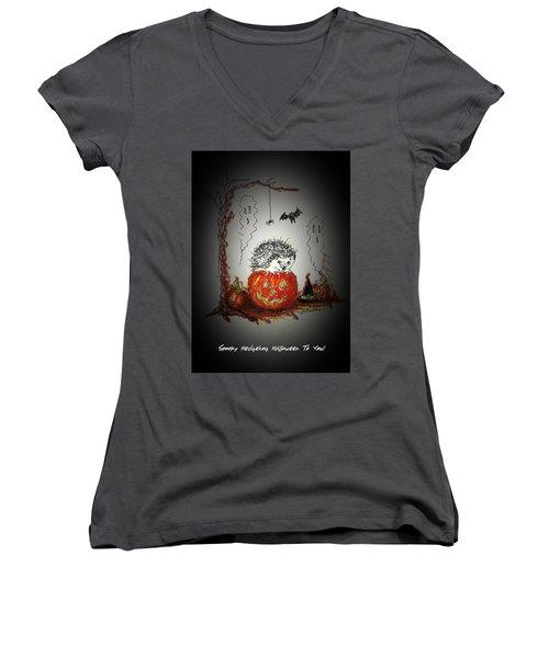 Spooky Hedgehog Halloween Women's V-Neck
