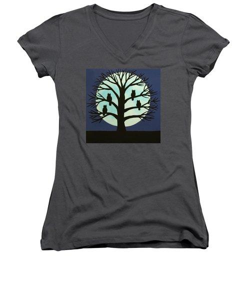 Spooky Owl Tree Women's V-Neck (Athletic Fit)