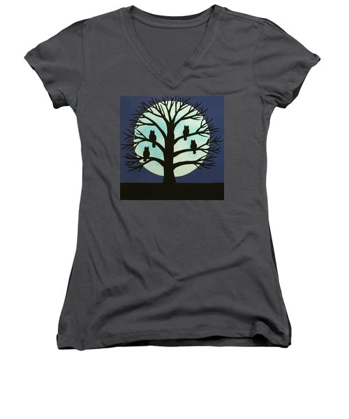Spooky Owl Tree Women's V-Neck (Athletic Fit)