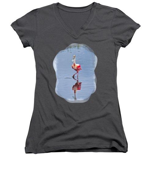 Spoonbill 2 Women's V-Neck T-Shirt (Junior Cut)