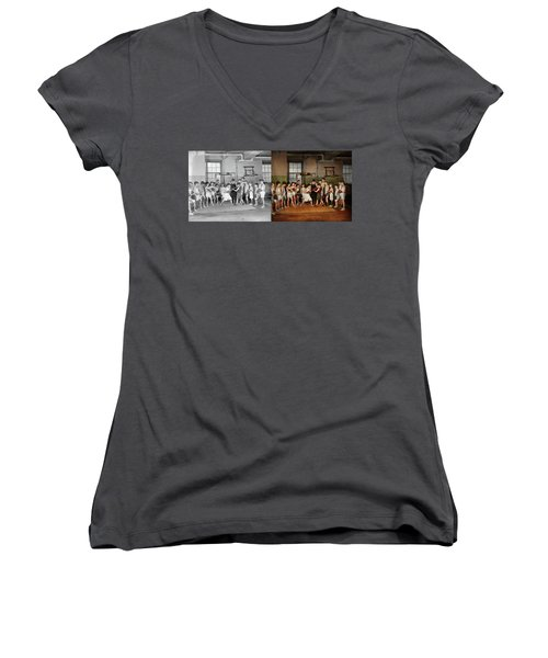Women's V-Neck T-Shirt (Junior Cut) featuring the photograph Sport - Boxing - Fists Of Fury 1924 - Side By Side by Mike Savad