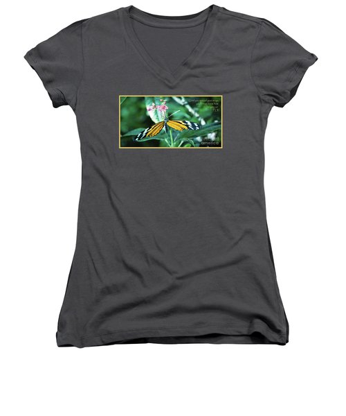 Women's V-Neck T-Shirt (Junior Cut) featuring the photograph Spread Your Wings by Deborah Klubertanz