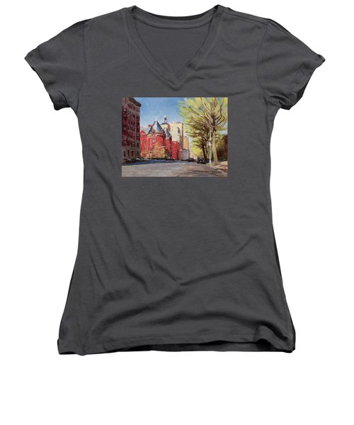 Spring Afternoon, Central Park West Women's V-Neck (Athletic Fit)