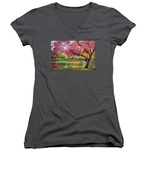 Women's V-Neck T-Shirt (Junior Cut) featuring the photograph Spring Afternoon In The Boston Public Garden - Boston Swan Boats by Joann Vitali
