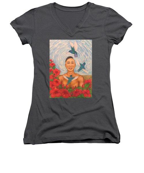 Spring Amazed By The Hummingbirds Women's V-Neck T-Shirt (Junior Cut) by Kent Chua