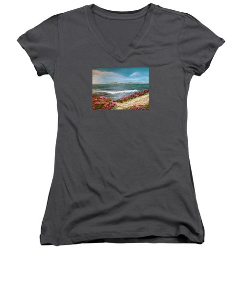 Women's V-Neck T-Shirt (Junior Cut) featuring the painting Spring At Half Moon Bay by Dee Davis