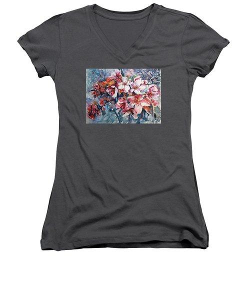 Women's V-Neck T-Shirt (Junior Cut) featuring the painting Spring Beauty by Kovacs Anna Brigitta