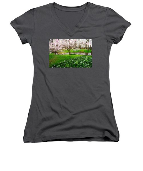 Women's V-Neck T-Shirt (Junior Cut) featuring the photograph Spring Blossom In Keukenhof Garden by Jenny Rainbow